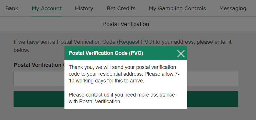 bet365のPostal Verifivcation codeのPVC申請完了メッセージ