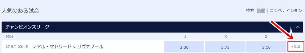 ウィリアムヒルでの17-18UEFAチャンピオンズリーグ決勝、レアルマドリードとリバプールの試合の勝敗オッズ