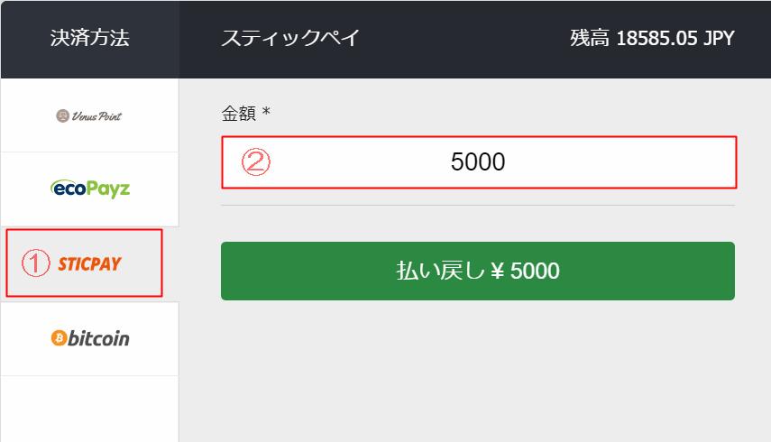 10Bet JapanのSTICPAYへの出金操作画面