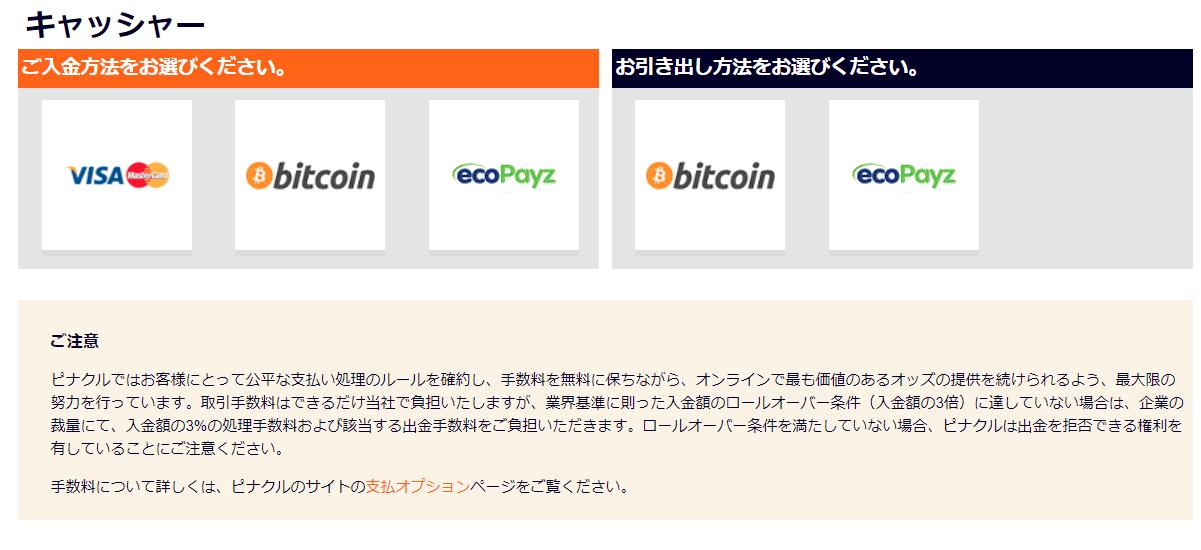 ピナクルの入金方法の選択画面