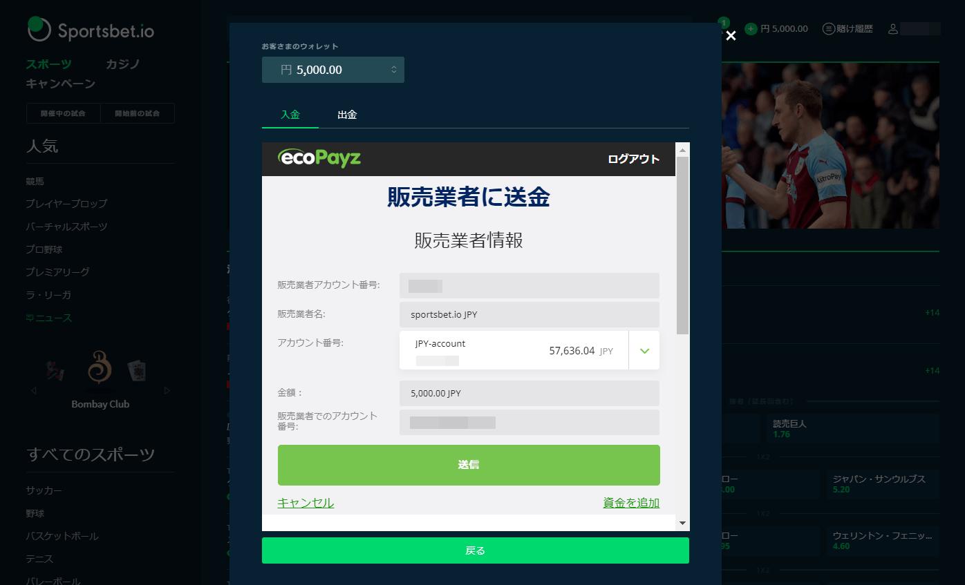 スポーツベットアイ・オーでのエコペイズ入金の操作画面