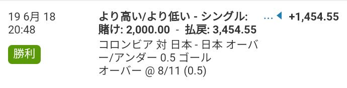 WillamHILLの日本×コロンビアの日本オーバーゴール0.5で勝利したときの明細