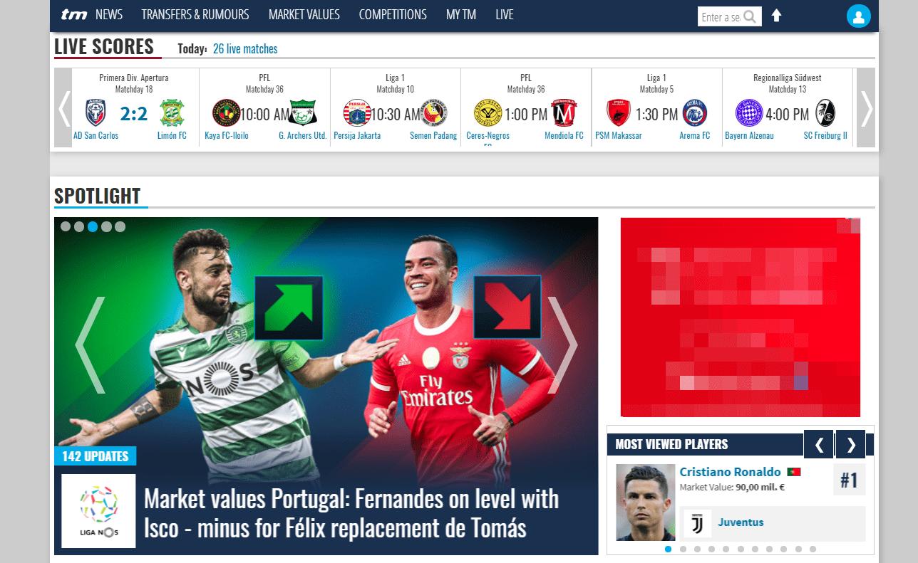 Transfermarketのトップページのスクリーンショット
