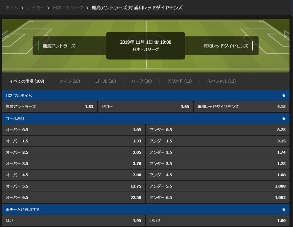 10Bet Japanの鹿島アントラーズ×浦和レッズのマーケット画面のスクリーンショット